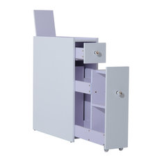 Aosom Homcom Slide Out Bathroom Floor Cabinet White Bathroom Cabinets And Shelves