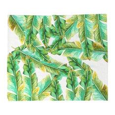 Banana Leaves Fleece Throw Blanket, Queen