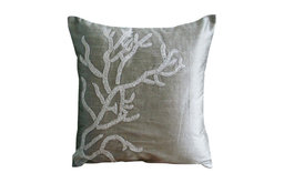 "Coral Design Silver Euro Shams, Art Silk 26""x26"" Euro Shams, Coral Adornment"