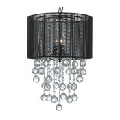 Crystal Chandelier With Large Black Shades and Crystal Balls