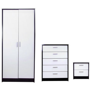 Khabat Bedroom Furniture Set, White and Matte Black