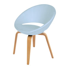 Crescent Plywood Dining Chair, Walnut Finish Base, Sky Blue Ppm