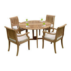 "5-Piece Outdoor Teak Dining Set, 48"" Round Butterfly Table, 4 Giva Arm Chairs"
