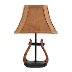 AHS Lighting Stirrup Western Style Accent Lamp With Leather Look Shade