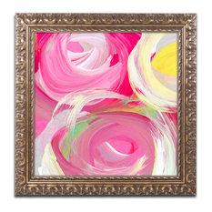 'Rose Garden Circles Square 4' Ornate Framed Art, 11x11