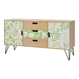2-Door and 3-Drawer Traditional Sideboard, Leaves