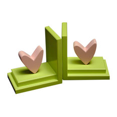 Heart Bookends, Pink With Lime Base