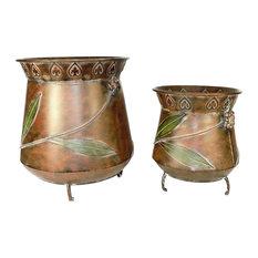 Antique Style 2 Piece Metal Planter, Copper