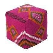 """Southwestern/Lodge Surya Poufs Pouf/Ottoman, Pink, Square 18"""""""