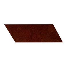 "6""x16"" Globus Cork Chevron Tiles, Set of 56, Cherry, Left-Leaning"