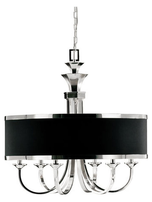 Chandeliers and Suspensions:Tuxedo 6 Light Single Shade Chandelier by Uttermost - Chandeliers,Lighting