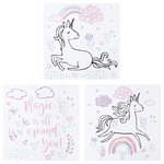 Trend Lab, LLC - Trend Lab Magical Unicorn Canvas Wall Art, 3 Piece Set - Complete the look of your baby's room with the Unicorn 3-piece Canvas Wall Art Set featuring the message 'Magic is all around you!' surrounded by unicorns.  The art is accented with pastel flowers, clouds and rainbows printed on a white background in pink, purple, light blue, light yellow and gray. Each canvas measures 12 in x 12 in and mounting hardware is attached to the back for easy hanging.