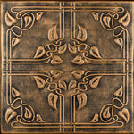 """Decorative Ceiling Tiles - 20""""x20"""" Ivy Leaves, Styrofoam Ceiling Tile, Antique Gold - Goes Over Popcorn And Most Ceiling Surfaces, Styrofoam (polystyrene), 20x20 (2.7 sqft), Adds Insulation, Easy Install, Light Weight, No Expensive Tools Needed, Paintable With Any Water-Based Paint, Vine Pattern"""