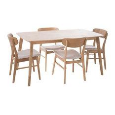 "GDFStudio - Lucille Mid Century Oak Finish 60"" Rectangular 5 Piece Dining Set, Light Beige - Dining Sets"
