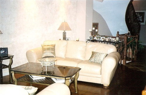My Leather Sofa And Love Seat Is A Butterscotch Color And I Have Dark  Hardwood Floors. There Is A Pic Of My Leather Sofa And Kitchen.
