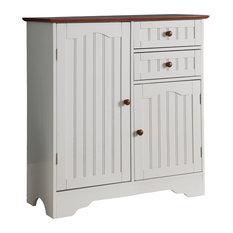 White & Walnut Wood Kitchen Storage Buffet With Storage Drawers & Doors, 29""