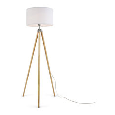 Ansel Tripod Floor Lamp, Natural and White