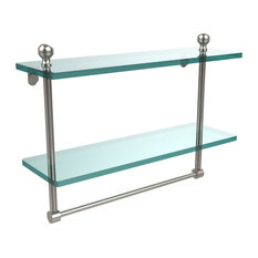 """Mambo Collection 16"""" Two Tiered Glass Shelf With Integrated Towel Bar"""