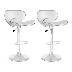Curved Form Fitting Adjustable Bar Stool White Leatherette Set Of 2