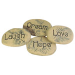 poem stones - Stones With Words, Laugh, Dream, Love, Hope, Ceramic Accents, 4 Piece Set - Poem stones will add a touch of whimsy along a garden path!