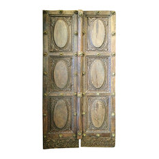 Mogul interior - Consigned Indian Haveli Doors Solid Rustic Wood Door Panel India Teak Furniture - Interior Doors