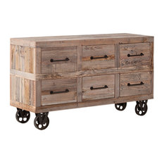 Reclaimed Wood Wheeled Drawer Console