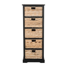 Safavieh Vedette 5-Wicker Basket Storage Tower, Distressed Black