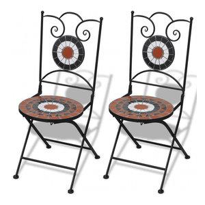 vidaXL 2x Bistro Chair Mosaic Terracotta White Outdoor Garden Patio Furniture