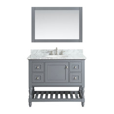 Silvia Bathroom Sink Vanity Set, White Marble Top, Base: Charcoal, 42""