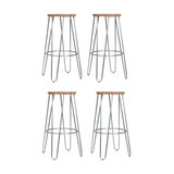 Hairpin Metal Kitchen Stool, Natural Wood, Raw Laquered Steel, Medium, Set of 4
