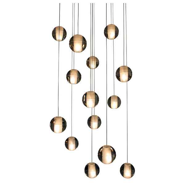 Lightupmyhome D'Angelo 12 Light Round Glass Crystal Chandelier, Clear Glass