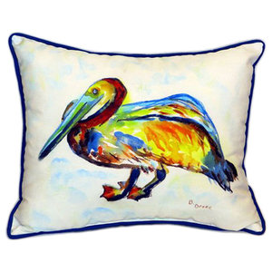 Gertrude Pelican Indoor Outdoor Pillow Beach Style Outdoor Cushions And Pillows By Betsy Drake Interiors