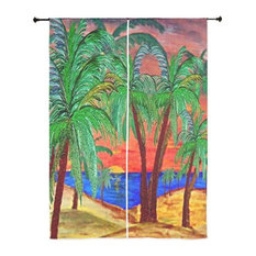 Palm Tree Tropical Sheer Curtains, Mountain Sunset Palms