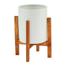 UPshining - Small Ceramic Planter Cylinder Pot 6'' White With Wood Plant Stand Walnut Color - Outdoor Pots and Planters
