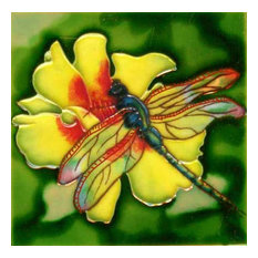 Dragonfly With Yellow Flower Tile