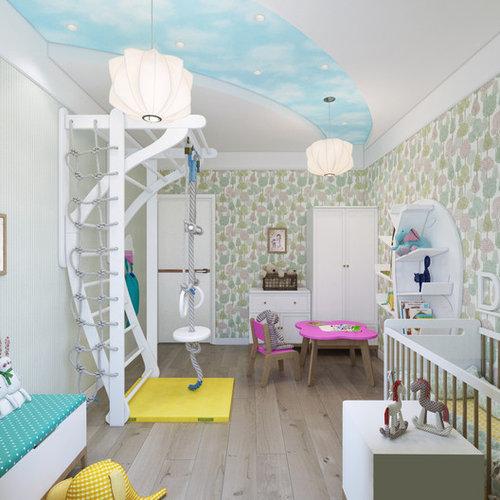 Mittelgroßes Modernes Kinderzimmer Mit Grüner Wandfarbe, Braunem Holzboden,  Beigem Boden Und Schlafplatz In Köln