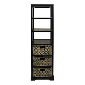 Miami Tall 6-Cubby and 3-Drawer Tower Shelf, Black-Brown