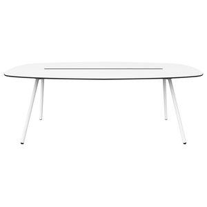 Medium A-Lowha Long Board Table, White, White Frame