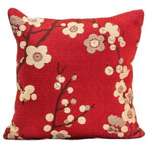 Designer Pillow Cover Cherry Blossom Design Red Decorative Pillow Asian Decorative Pillows By Gallerie Varda
