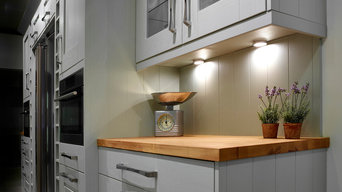 Under Cabinet LED spot lights for traditional painted kitchen with wood worktop
