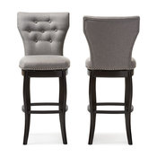 Leonice Fabric Upholstered Button-Tufted Swivel Bar Stools, Gray, Set of 2, 29""