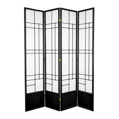 7' Tall Eudes Shoji Screen, Black, 4 Panels