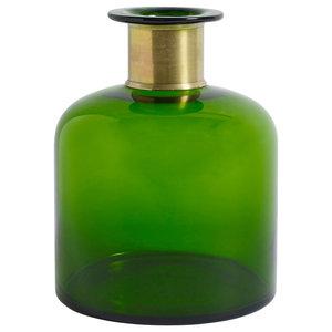 Hand Blown Decorative Bottle, Green