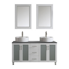 "Tuscany 60"" Double Vanity, White with White Vessel Sink, Mirror Included"