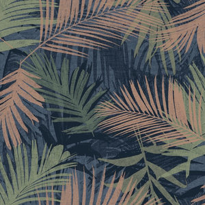 Boutique Jungle Glam Wallpaper, Blue and Green, Roll