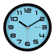 decomates decomates nonticking silent wall clock color block blue frost