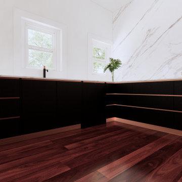 Black + Rose Gold Kitchen