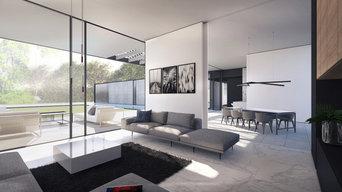 Salon et salle à manger ouvertes sur la piscine