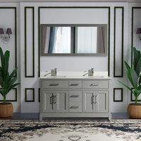 "Vanity Art Vanity Set With White Stone Top, 60"", Gray, Standard Mirror"