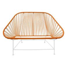 Innit Designs InLove Love Seat Couch, White Base, Orange